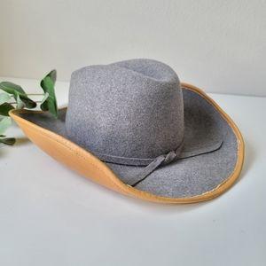 Vintage leather wool western boho cowboy hat